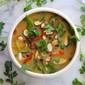 vegan curry coconut soup with black beluga lentils