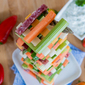 Jenga Veggie Tower with Creamy Cilantro Dip