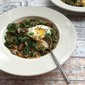 savory kale and crimini oatmeal with fried egg