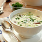 Bacon, Potato and Leek Soup with Roasted Garlic