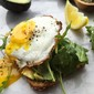 avocado toast with lemony arugula salad and egg