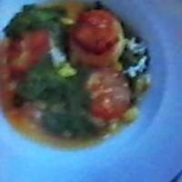 Seared Sea Scallops in a Saffron~Tomato~Basil Broth