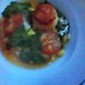 Seared Sea Scallops in a Saffron~Tomato~Basil Broth