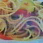 Spaghetti With Zucchini & Tomato in a Garlic Parmesan Sauce
