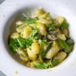 Pan-Seared Gnocchi with Shaved Asparagus and Snap Peas