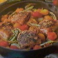 Mediterranean Skillet Baked Salmon Fillets with Fennel & Tomatoes-One Pan Dish