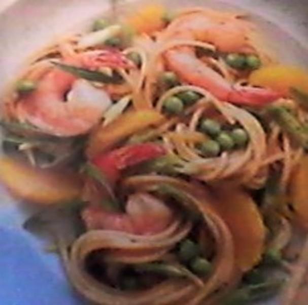 Orange-Shrimp-Pasta Garlic Toss