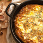 Easy Peasy: Early Summer Frittata with Peas, Garlic Scapes and Shiitakes
