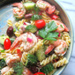 Summer Greek Pasta Salad w/ Shrimp