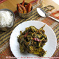 Pui shaak diye muri ghonto or Malabar spinach cooked with fish head