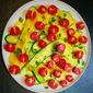 Zucchini and Cherry Tomatoes with Red Pepper Dressing