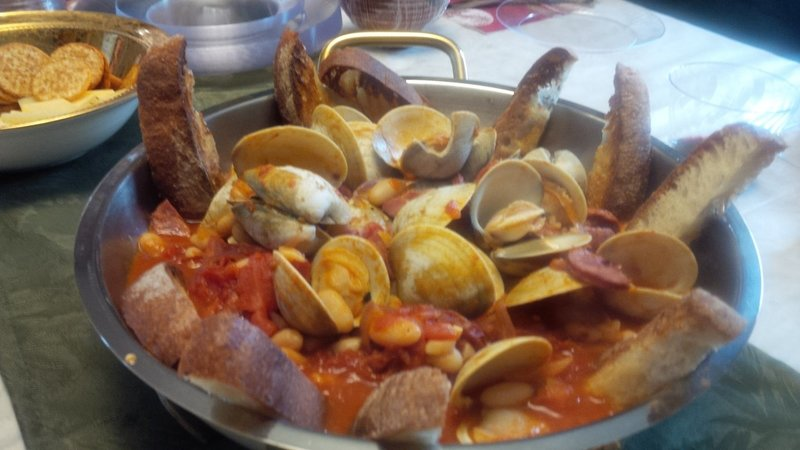 Pan Seared Clams with white beans and chorizo