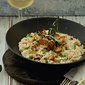 Roasted Squash and Peas Risotto