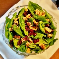 Spinach Salad with Cranberries and Candied Walnuts