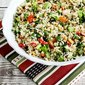 Roasted Cauliflower Rice with Red Pepper, Green Onion, Parmesan, and Pine Nuts