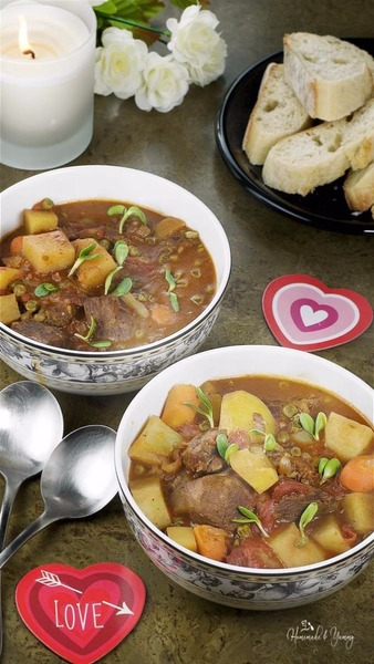 Slow Braised Red Wine Lamb Stew with Moroccan Spices
