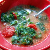 Cornmeal soup with collard greens and sausage (Sopa de fubà)