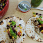 Chicken Verde Tacos with Corn and Black Bean Salsa