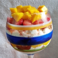 Cottage Cheese Mango Strawberry Salad with Flaxseed