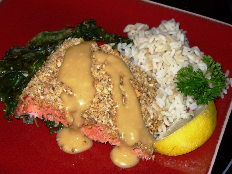 Pecan-Crusted Salmon Fillets with Honey Mustard Sauce