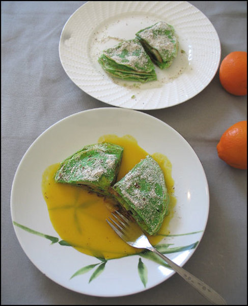 Apple Stacked Crepes with Orange Sauce