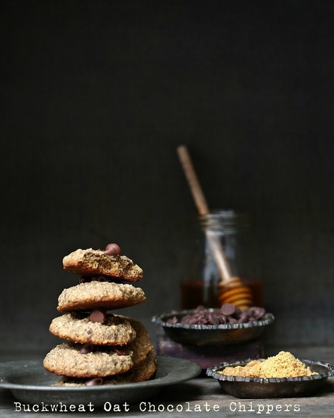 Baking | Eggless Wholegrain Buckwheat Oat Chocolate Chip Cookies #healthy #glutenfree