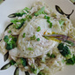 Creamy Chicken Orzo with Broccoli and Fried Egg
