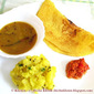 Adai, Sambar, Aloo bhaji and Mirchi ki chutney - a South Indian breakfast on the plate today
