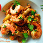 Pasta with shrimp in tomato cream