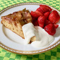 Dorie Greenspan's Rhubarb Upside-Down Brown Sugar Cake with Strawberries and Creme Fraiche