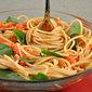 Spaghetti with Fresh Tomato Sauce and Basil; school