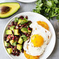 Polenta Rounds with Fried Eggs and Avocado Bean Salsa