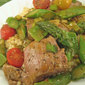 Lamb with Asparagus and Snow Peas; planting tomatoes with a crowbar