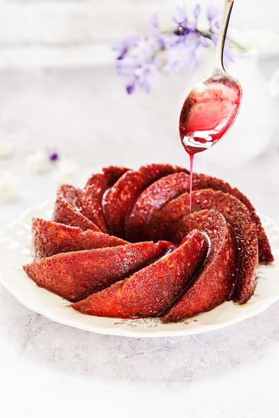 Lemon Ricotta Cake with Blackberry Glaze