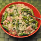 Asparagus and Ham Risotto; pansies