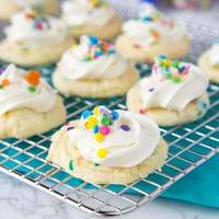 Frosted Funfetti Cake Mix Cookies