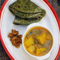Recipe & Food Styling | Green Theplas with Rajasthani Aloo Tamatar Subzi – When work completes and compliments your purpose of living..