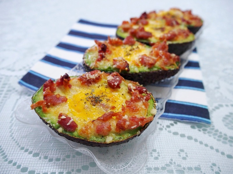 Baked Eggs in Avocado with Bacon