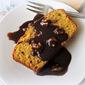 Pumpkin Pound Cake with a Caramel Walnut Sauce