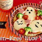 HALLOWEEN Ghost Rice Pizza (No Oven Gluten-Free Recipe) | Japanese Cooking Video