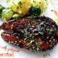 Maple-soy glazed salmon steaks