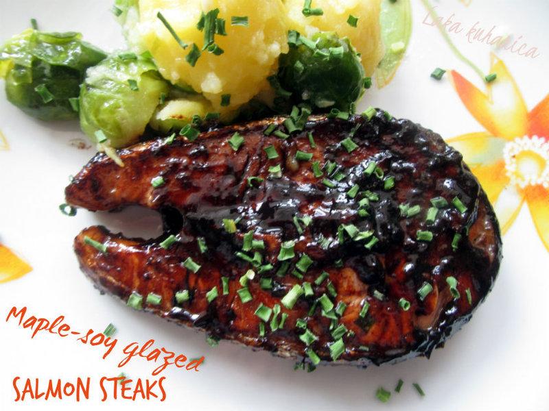 Maple-soy glazed salmon steaks