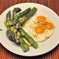 Asparagus Salad with Quail Eggs; asparagus season
