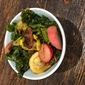 Easy skillet cran-orange kale and radishes