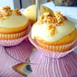 Vanilla cupcakes topped with Maple Syrup Coconut Cream… and Syrup coated roasted almonds