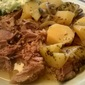 Slow Cooker version of roast lamb in lemon and garlic sauce: Arni Psito me Patatas