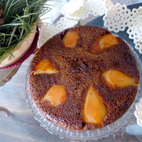 PEAR almond Molasses Spice torte cake