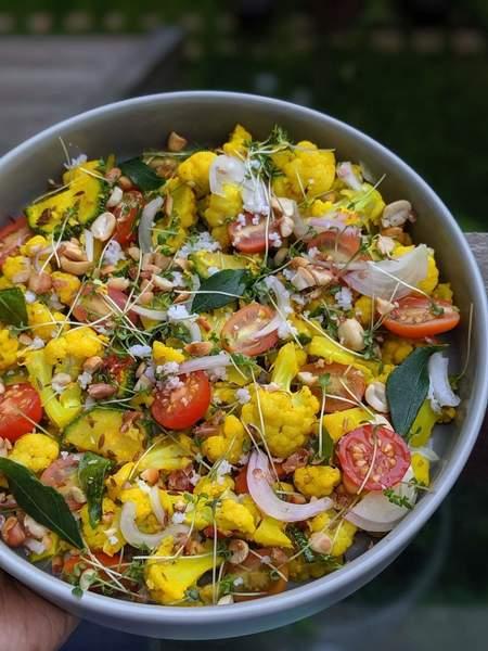 Vegan Cauliflower Salad with Indian flavours