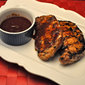 Grilled Pork Chops, Ginger Barbecue Sauce; figs