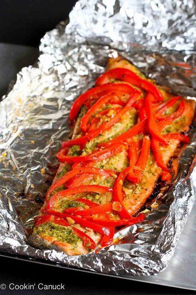 Grilled Pesto Salmon Recipe in Foil